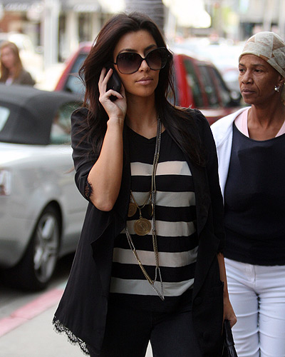 Kim Kardashian LnA Short Sleeve Mesh Striped Tee