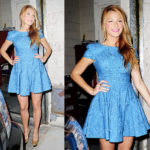 Blake Lively in Tibi Eyelet Cap Sleeve Dress