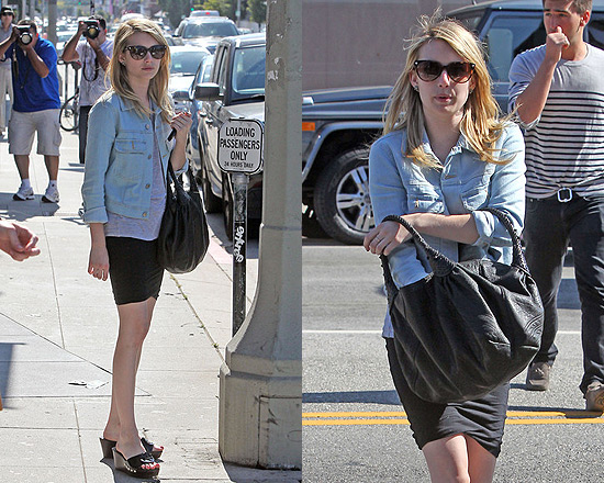 Emma Roberts in Mini Skirt and Denim Jacket