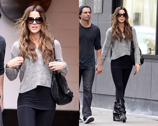Kate Beckinsale in Vince Split Neck Cropped Sweater