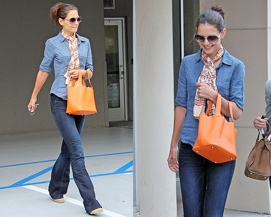 Katie Holmes in James Perse blouse