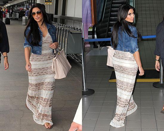 Kim Kardashian in bebe Maxi Dress