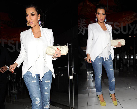 Kim Kardashian in Jet jeans and Christian Louboutin