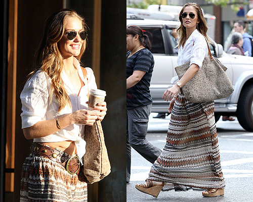 Minka Kelly in Myne Jazz Long Skirt