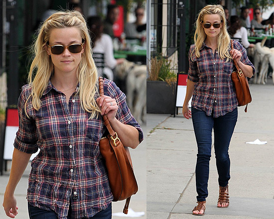 Reese Witherspoon wearing Ray-Bans and carrying Chloé bag
