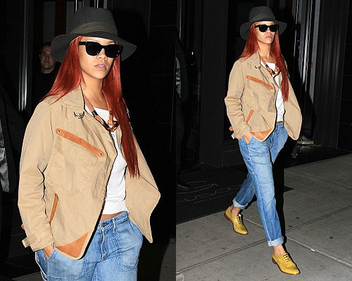 Rihanna in NYC wearing Robert Clergerie Jili Oxford shoes