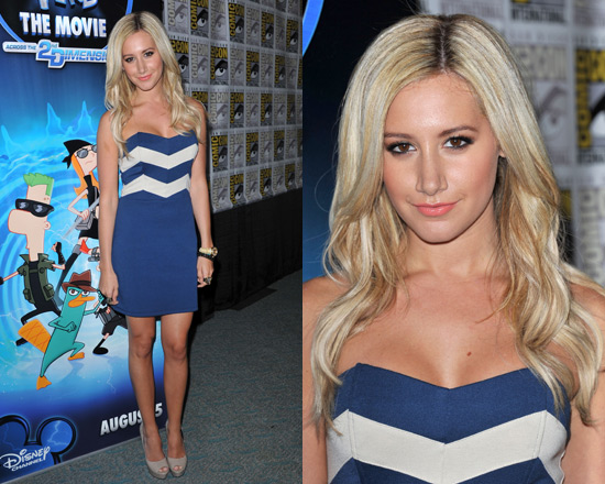 Ashley Tisdale in Lucca Couture Zig Zag Strapless Dress
