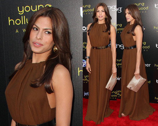 Eva Mendes is Lanvin Silk Crepe Dress