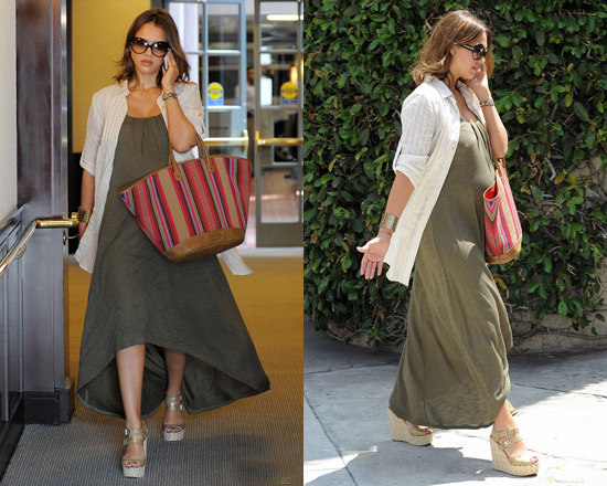 Jessica Alba in Lanston Knit Maxi Dress