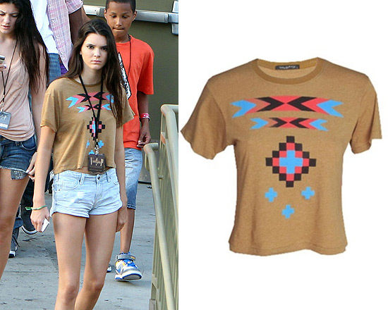 Kendall Jenner in Wildfox Pocahontas Crop Top