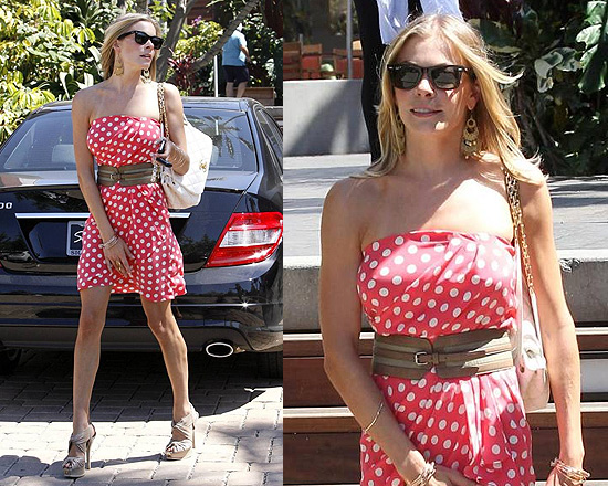 Leann Rimes in Paul and Joe Sister Minipois Silk Strapless Polka Dot Dress