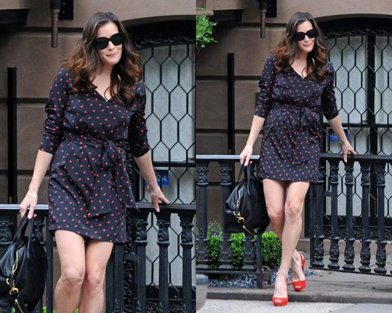 Liv Tyler in DKNY Ruched Sleeve V Neck Dress