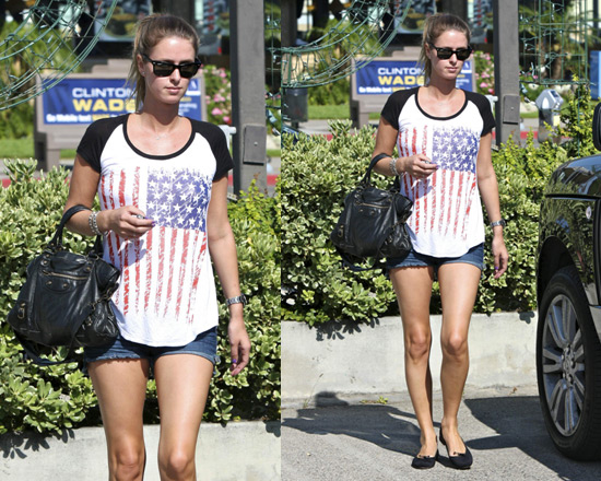 Nicky Hilton in Flag Baseball Tee