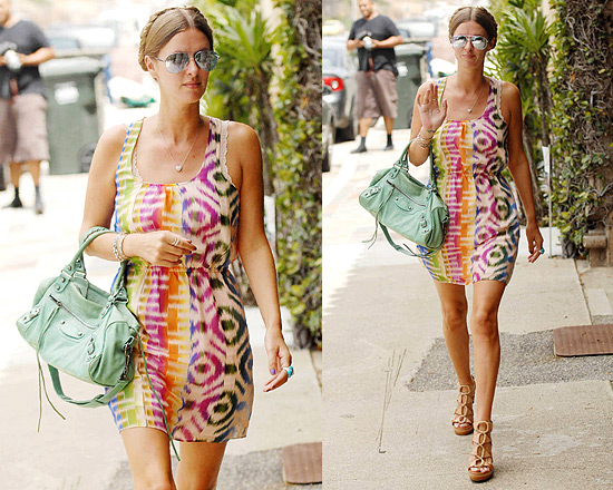 Nicky Hilton in Madewell Electric Ikat Tank Dress