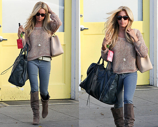 Ashley Tisdale in Free People Sahara Star Sweater