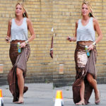 Blake Lively on 'Gossip Girls' set wearing Haute Hippie Sequined Mermaid Skirt