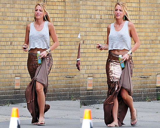 Blake Lively wearing Haute Hippie Sequined Mermaid Skirt