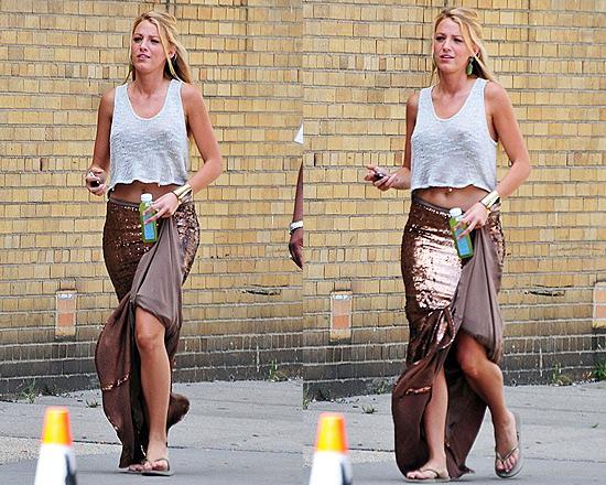 Blake Lively wearing Haute Hippie Sequined Mermaid Skirt
