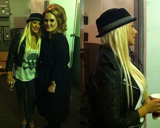 Christina Aguilera in Doma Leather Cropped Moto Jacket