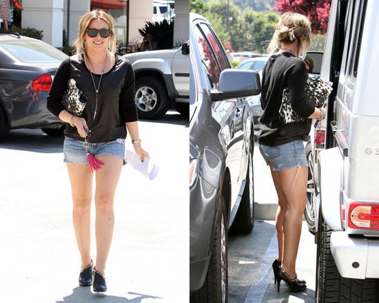 Hilary Duff wearing Valentino Rockstud Asymmetric Bootie