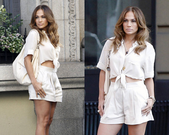 Jennifer Lopez on movie set wearing 3.1 Phillip Lim Tie Front Romper
