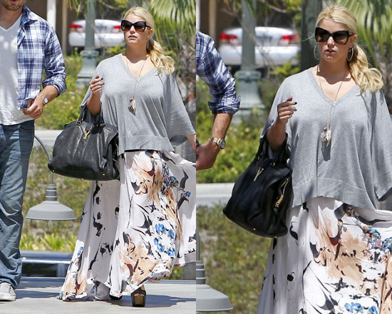 Jessica Simpson wearing A.L.C. Luca Maxi Skirt
