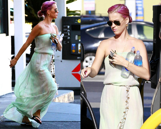 Katy Perry shows off Pink hair wearing Gypsy05 Circa Silk Tube Maxi Dress