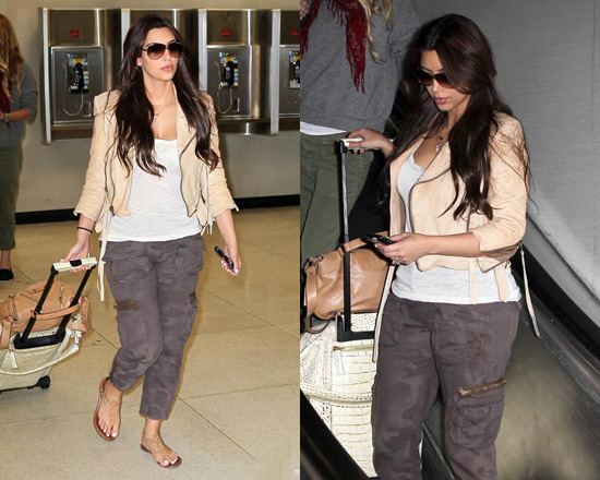 Kim Kardashian wearing 7 For All Mankind Jacquard Camo Aviator Pant