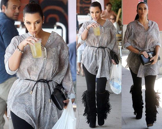 Kim Kardashian in Acne Spellbinder Snake Print Shirt Dress