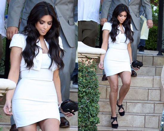 Kim Kardashian Bottega Veneta Clutch and Christian Louboutin Peep-Toe Sandals