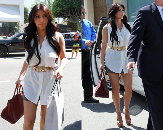 Kim Kardashian at Vera Wang wearing Equipment Sleeveless Silk Shirt