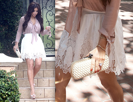 Kim Kardashian looking cute in Intermix and Quail