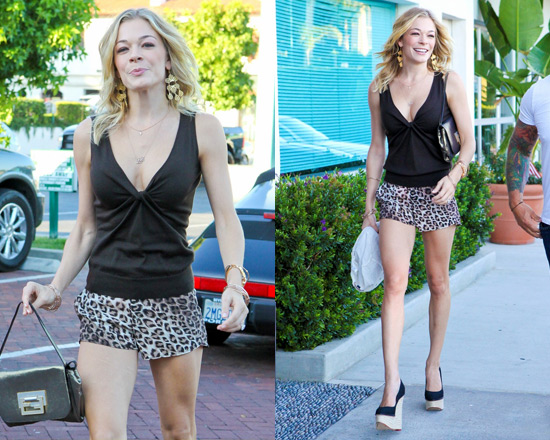 LeAnn Rimes in Alice + Olivia Printed Butterfly Shorts
