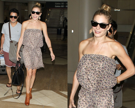 LeAnn Rimes at LAX wearing Vanessa Bruno dress and Rag and Bone booties