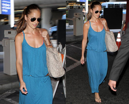 Minka Kelly in AG Adriano Goldschmied Grecian Dress