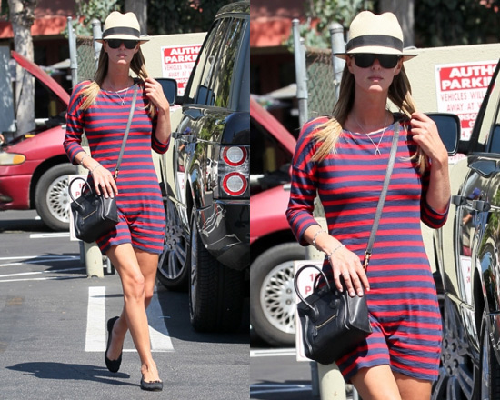 Nicky Hilton in Express Three-Quarter Sleeve Striped Dress