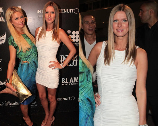 Nicky Hilton parties wearing Torn by Ronny Kobo Sari Ruched Dress
