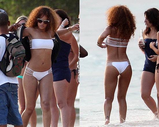 Rihanna wearing Mikoh Corsica String Bikini in Barbados