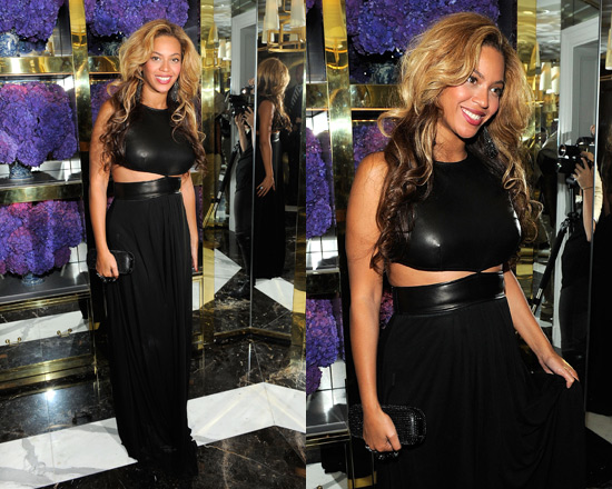Beyonce wearing Michael Kors Cut-out Leather Gown
