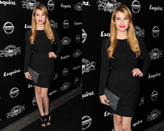 Emma Roberts in Alice + Olivia Long Sleeve Goddess Dress