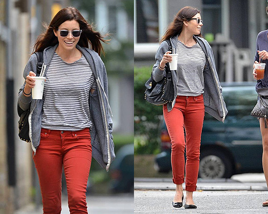 Jessica Biel out in Toronto wearing Paige Denim Jeggings
