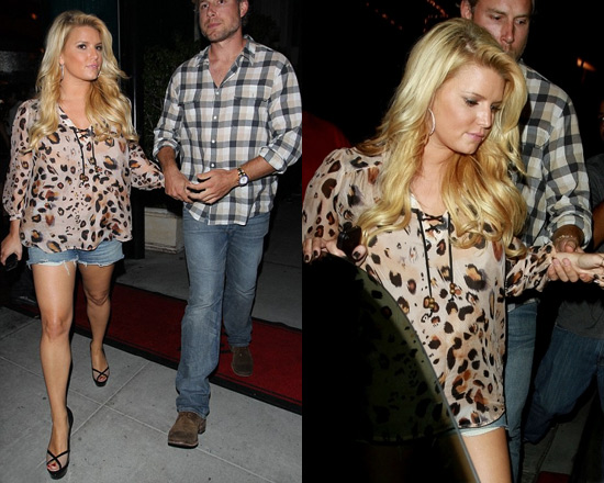 Jessica Simpson wearing Love Sam Lace Front Blouse in Multi Leopard