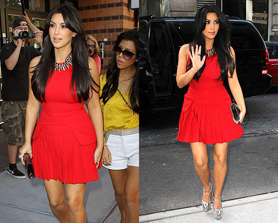 Kim Kardashian in Alexander McQueen Pleated wool-crepe Mini Cress