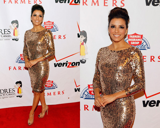 Eva Longoria in Alice + Olivia Breck Sequin Dress