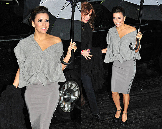Eva Longoria in Victoria Beckham Cashmere-Blend and Stretch-Crepe Dress