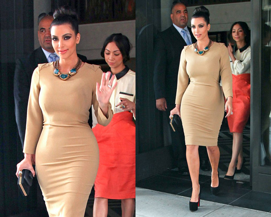 Kim Kardashian in Rachel Roy Drape Back Dress