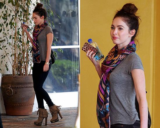 Megan Fox in B Brian Atwood Tempesta Suede Platform Booties