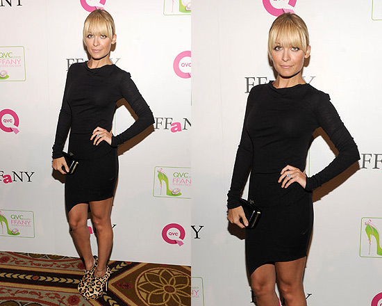 Nicole Richie in A.B.S. by Allen Schwartz Black Stretch Jersey Asymmetrical Dress