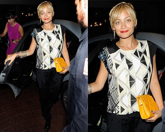 Nicole Richie wearing Dries Van Noten Beaded Print Top in London