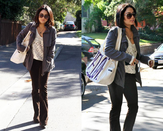 Vanessa Hudgens wearing HeartLoom Eden Jacket and Indah Eve Open Work Sweater
